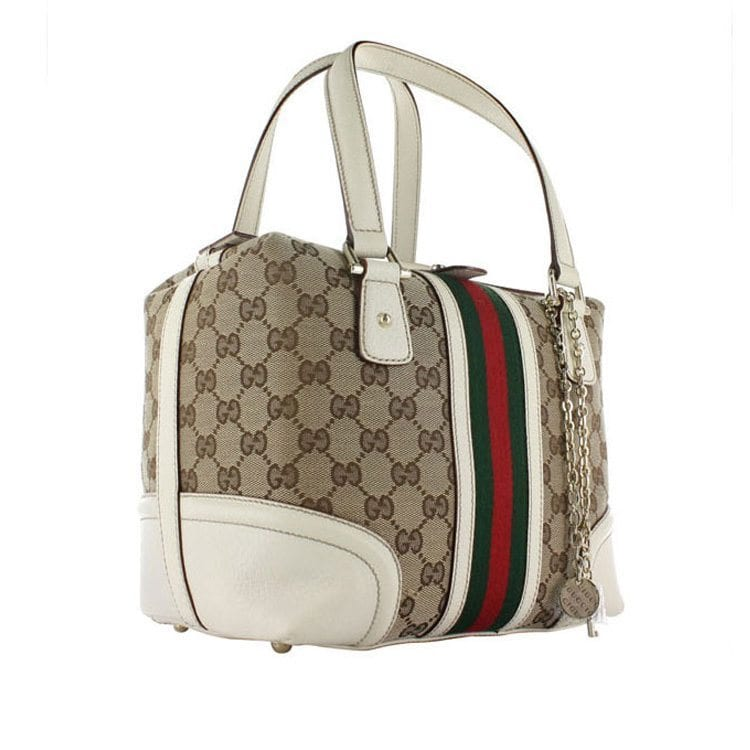 brown square handbag with green stripes for fashion accessories product photography example