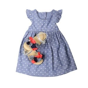 blue and white polka dot dress with colorful floral sandals for product photography example
