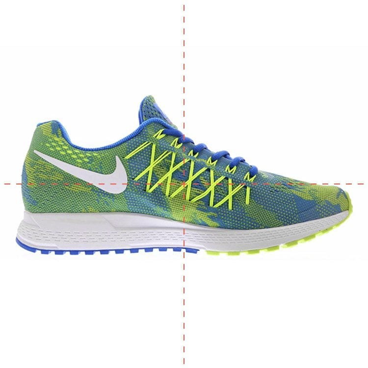 green and blue Nike running shoe side shot product photography example