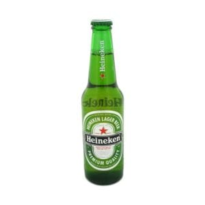Heineken green beer bottle grocery and food product photography example