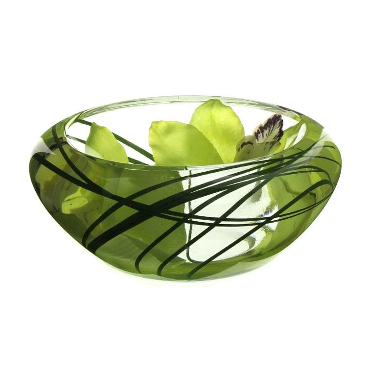 green leafy paper weight glass bowl home decor product photography example