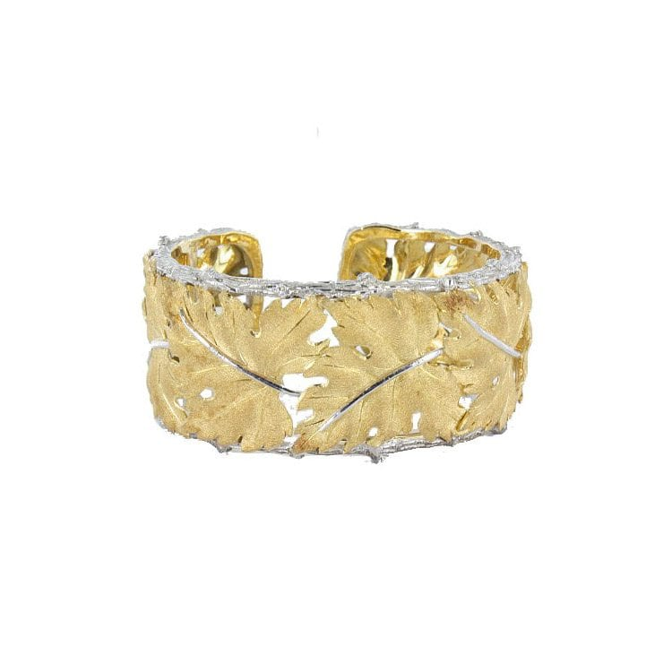 gold plated leaf bracelet with silver lining jewelry product photography example