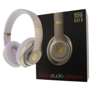 Ortery eCommerce Product Photography Example - Beats by Dr Dre Gold with white muffs with original box aside 360 spinning product photography example