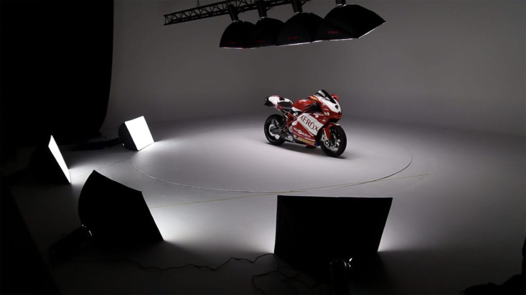 Ortery LiveStudio light kit in action Motorcycle Photoshoot