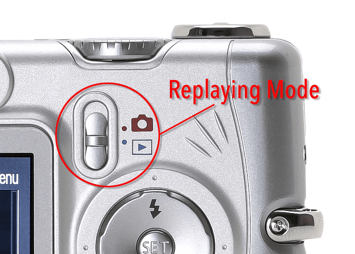 How to set replaying mode for Canon A Series point and shoot