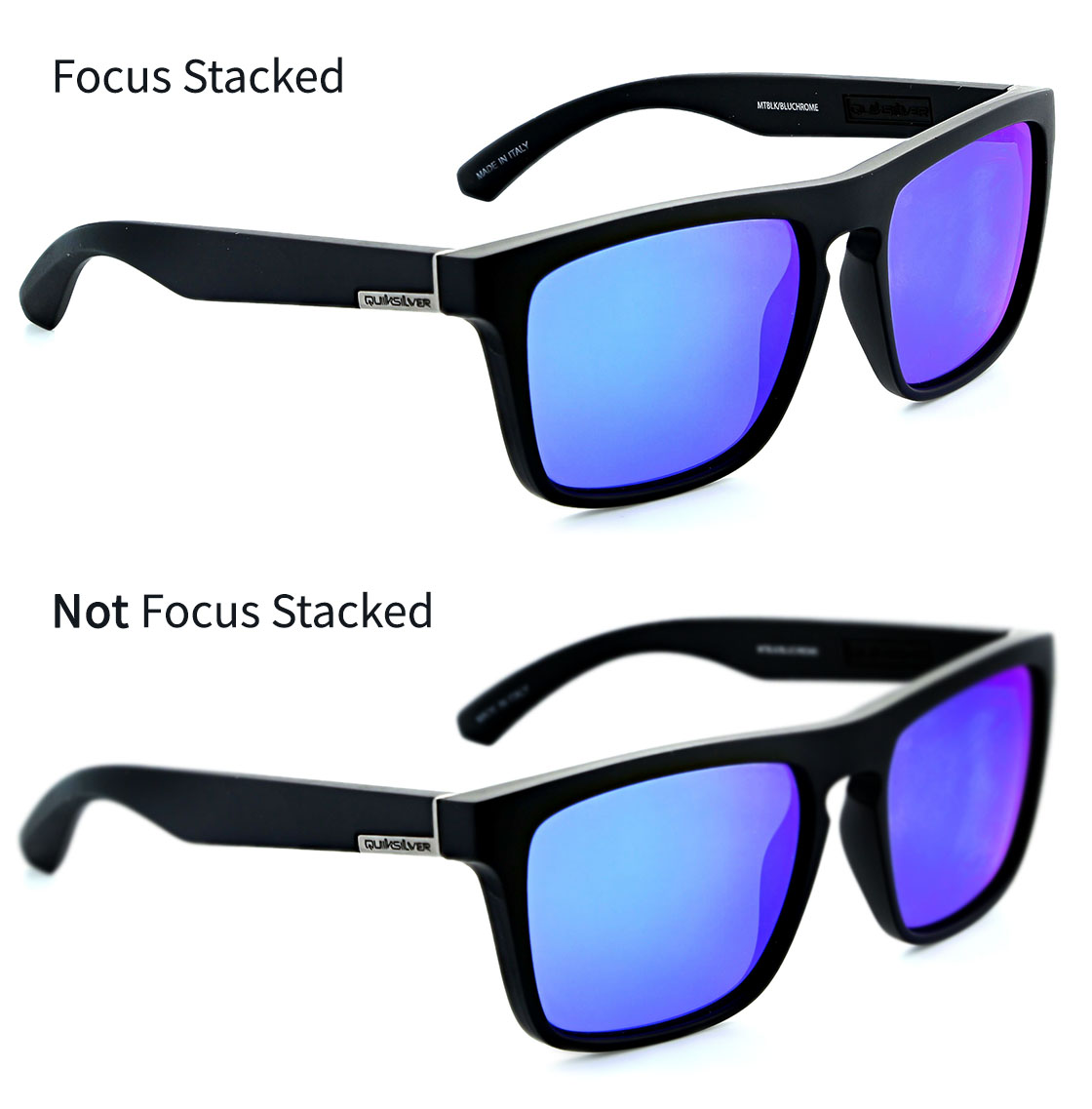 Ortery eyewear photography solution displaying an example of a software feature called Focus Stacking that allows users to obtain full image focus automatically.