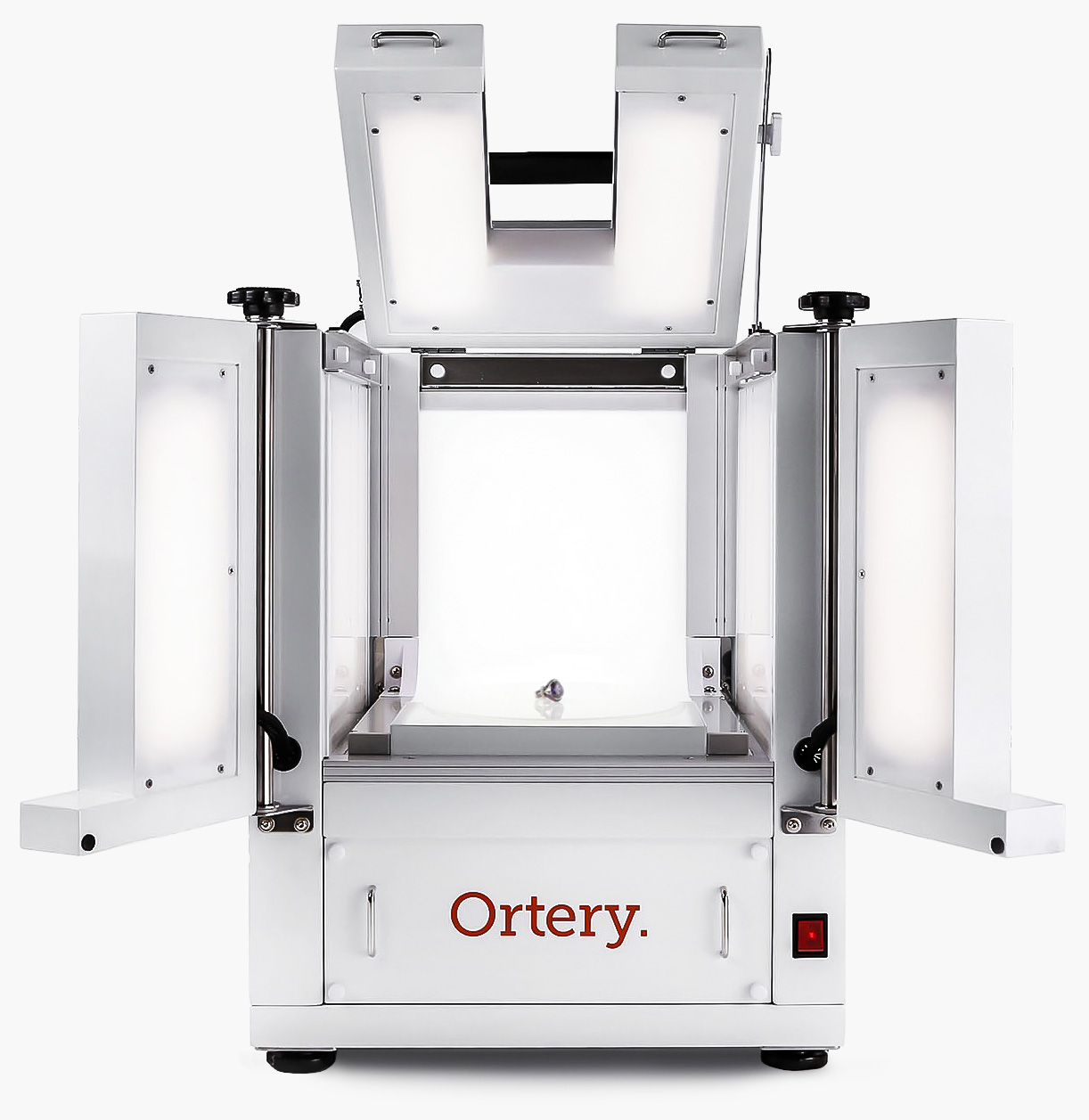 Ortery Photobench 80 is a 360 jewelry photography solution with software controlled LED lighting and turntable for taking jewelry product photos on a pure-white or transparent background.