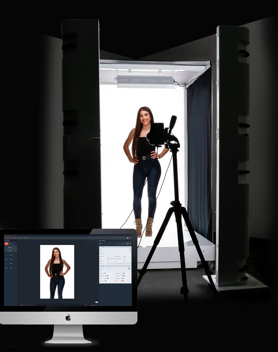 Large, full size 360 clothing photography lightbooth with clear motorized turntable