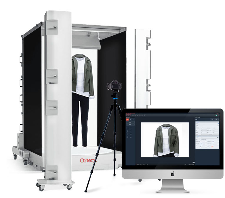 Ortery's heavy duty 360 clothing photography system for models and mannequins