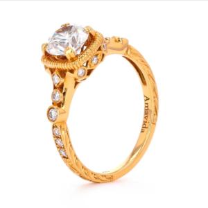 Gold Diamond Ring Standing Jewelry 360 Example