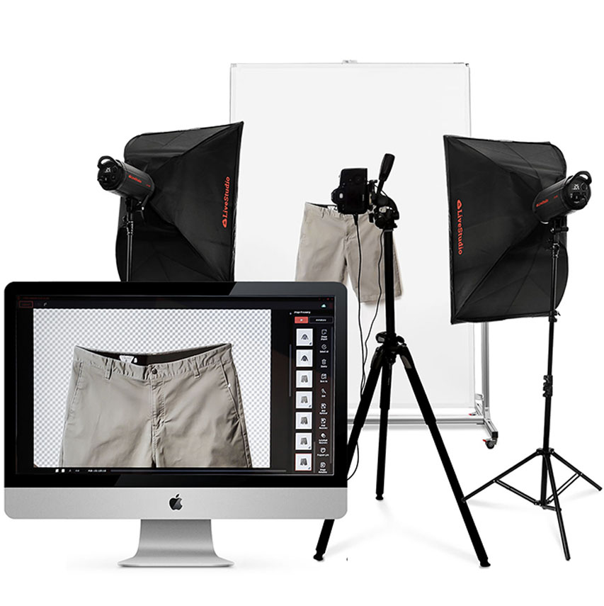 Ortery hanging and flat lay clothing photography systems work great with LiveStudio light kits