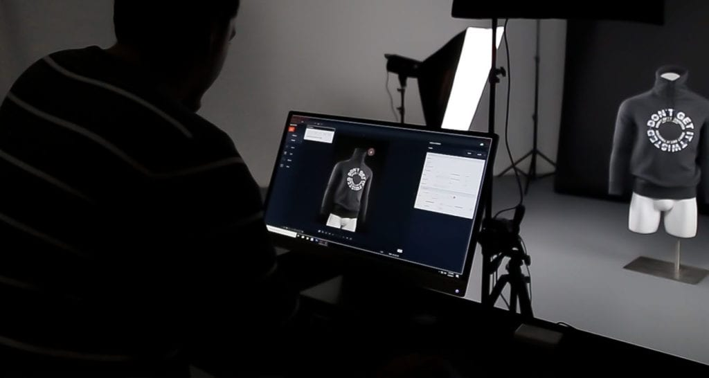 Ortery product photography software in use